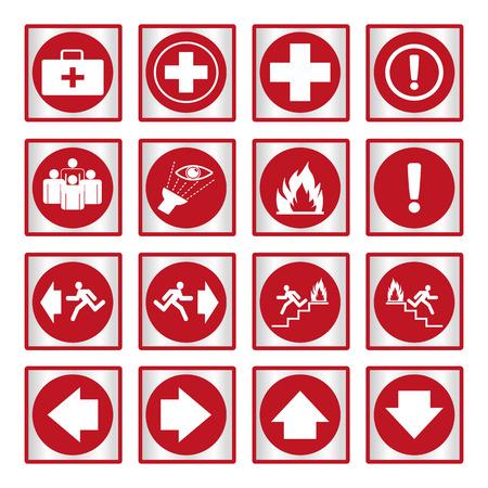 Metallic safety sign. Vector illustration set of red emergency exit signs Illustration