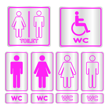 gents: Pink square restroom  Sign set with text,Vector illustration