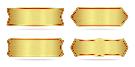 name plate: Set of Gold label metal or Metallic gold name plate