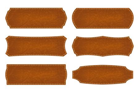 Set of 6 shapes leather sign labels.