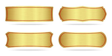 gold metal: Set of Gold label metal or Metallic gold name plate