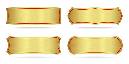 Set of Gold label metal or Metallic gold name plate