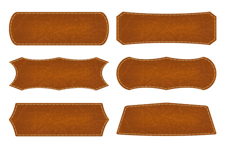 leather stitch: Set of 6 shapes leather sign labels.