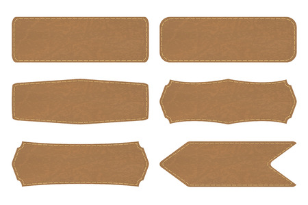 etiquetas de ropa: Conjunto de 6 formas de etiquetas de etiqueta de cuero o de signos de cuero en el fondo blanco. Ilustración vectorial