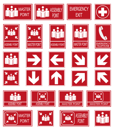 fire safety signs: Red safety sign. Vector emergency exit signs set on red background