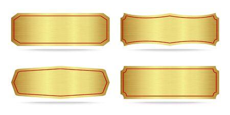 Set of Gold label metal or Metallic gold name plate .Vector illustration Stock Illustratie