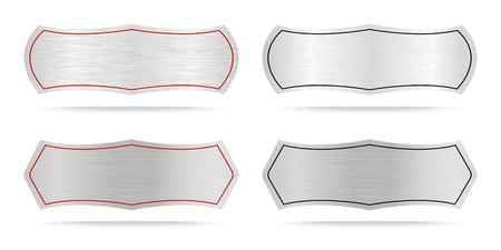 Vector Metallic etiketten of Metal naamplaatje .Vector illustratie