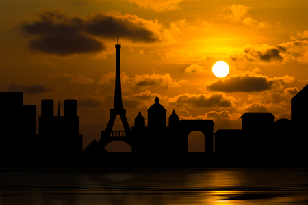 orange sunset: Dramatic Paris skyline behind clouds above the sea, Scenic orange sunset sky background