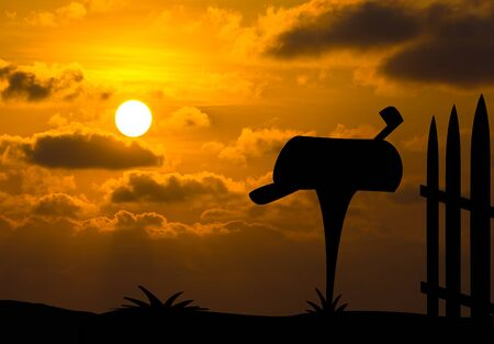 await: Opened mailbox silhouette with evening sunset background Stock Photo
