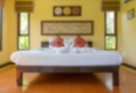 comfortable: Blurred image interior of modern comfortable hotel bedroom