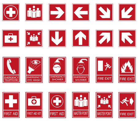exit emergency sign: Red safety sign. Vector emergency exit signs set on red background