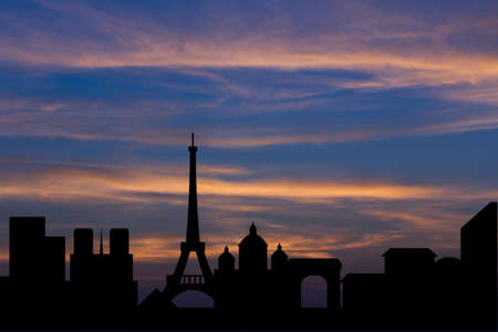 paris skyline: Dramatic Paris skyline behind clouds Scenic  sunset background Stock Photo