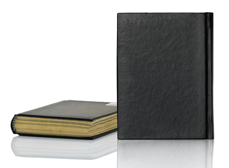 Black blank book,Closed black book with shadow on white background