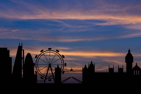 bigben: Dramatic London skyline behind clouds Scenic  sunset background Stock Photo