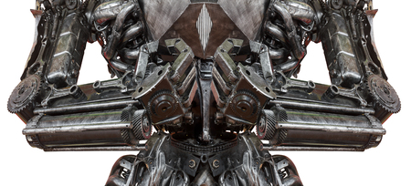 terminator: Closeup War machine sculpture made from scrap metal isolated on white background