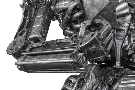 cyber war: Closeup War machine sculpture made from scrap metal isolated on white background