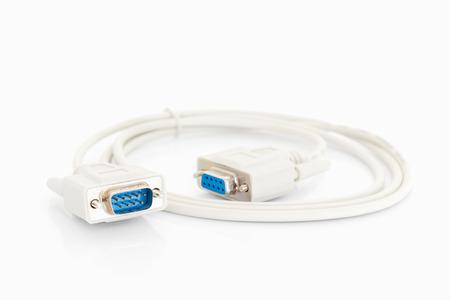 vga: VGA conector cables con cordón blanco sobre fondo blanco Foto de archivo
