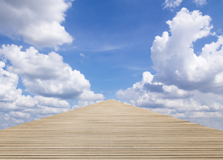 dream vision: Wood walkway to blue sky at under cloudy