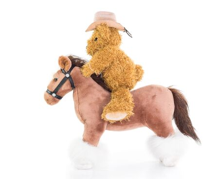 rustler: Cowboy Teddy bear riding a horses on white background