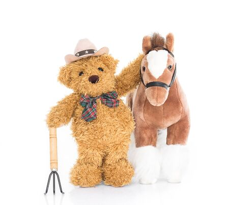 rustler: Teddy bear  farmer with pitchfork  and horse on white background