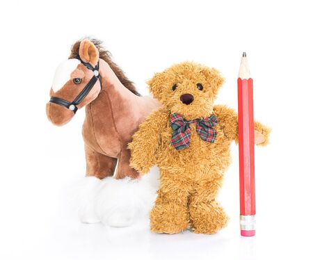 teddy bear cartoon: Teddy bear with red pencil and horses on white background