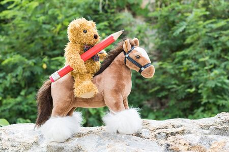 wild animal: Teddy bear ride a horse and hold pencil in forest Stock Photo