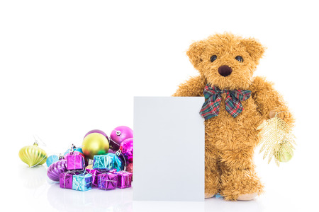 teddy bear: Teddy bear with gifts and blank greeting card on white background Stock Photo