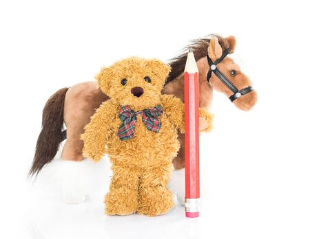 rustler: Teddy bear with red pencil and horses on white background