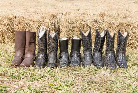 rodeo americano: botas de cuero de cocodrilo West rodeo vaquero americano del heno trasera