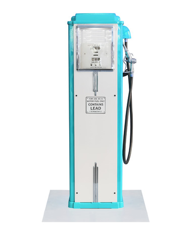 gasoline pump: Old blue petrol gasoline pump isolate on white background