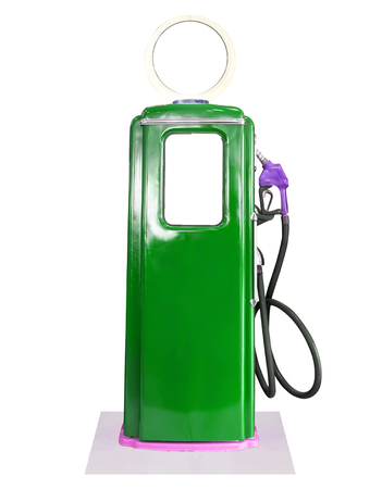 gasoline pump: Old green petrol gasoline pump isolate on white background Stock Photo