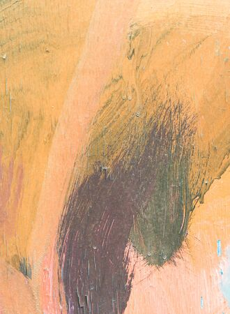 art painting: Hand painting orange abstract art painting on wood