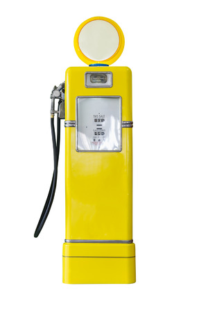 gasoline pump: Old yellow petrol gasoline pump isolate on white background Stock Photo
