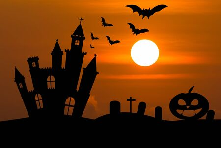 Castle silhouette in Halloween night .Used as background for Halloween