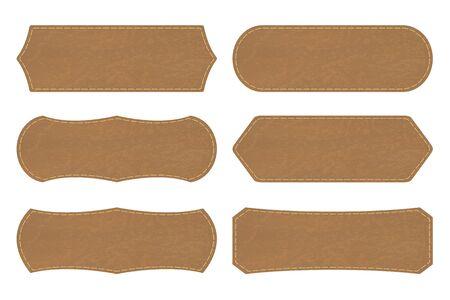 Set of 6 shapes of leather  tag or leather sign labels on white background. Vector illustration Illustration