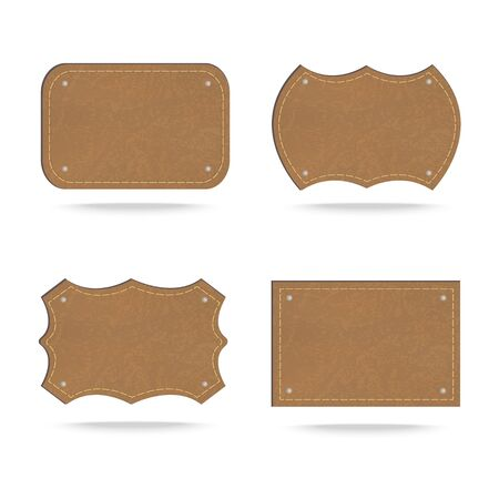texture leather: Set of leather tag on white background ,Vector illustration Illustration