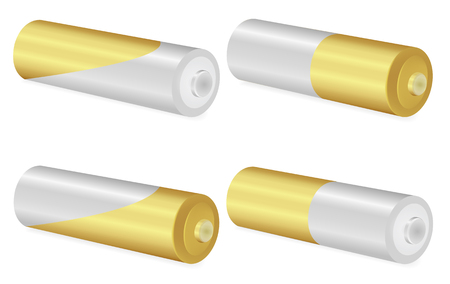 Gold and Metallic AA batteries over white background,Vector  illustration Illustration