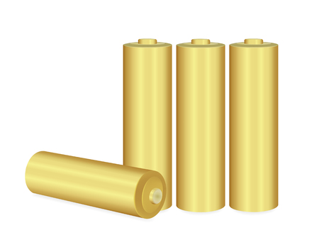 Close up Gold AA batteries over white background,Vector  illustration