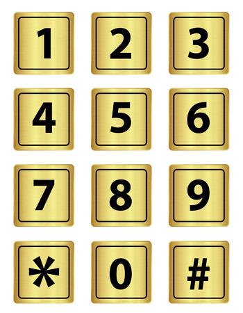 num: Number keypad  metal, multimedia num pad button, Vector illustration