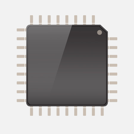 main part: CPU (central processing unit) - Computer chip or microchip, Vector  illustration