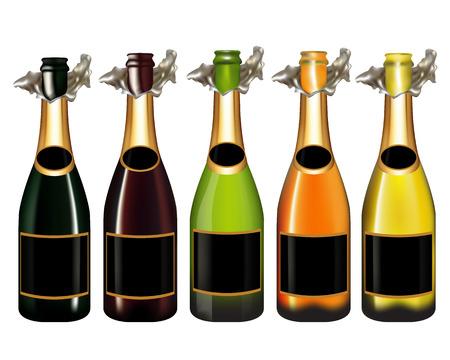 Set van de fles champagne op een witte achtergrond, Vector illustratie Stock Illustratie
