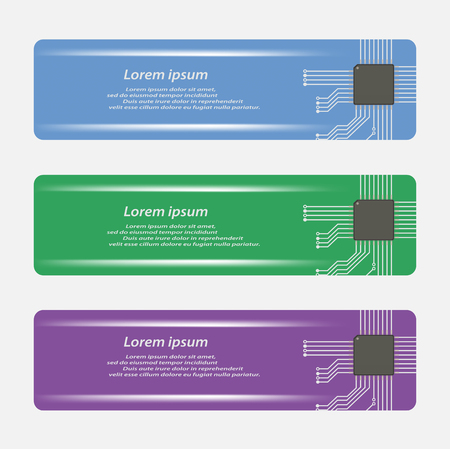 micro chip: Banners template with micro chip, Vector illustraion