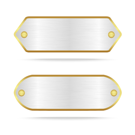 name plate: Vector silver and gold metal name plate or Silver metal label with screw.Vector illustration