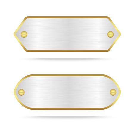 Vector zilver en goud metaal naamplaatje of Zilveren metalen label met screw.Vector illustratie Stockfoto - 60239576