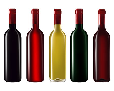 in a row: Wine bottles in row isolated on white background,Vector illustration Illustration