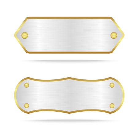 Vector zilver en goud metaal naamplaatje of Zilveren metalen label met screw.Vector illustratie Vector Illustratie