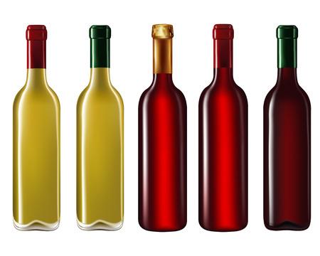 Set of wine bottles isolated on white background,Vector illustration