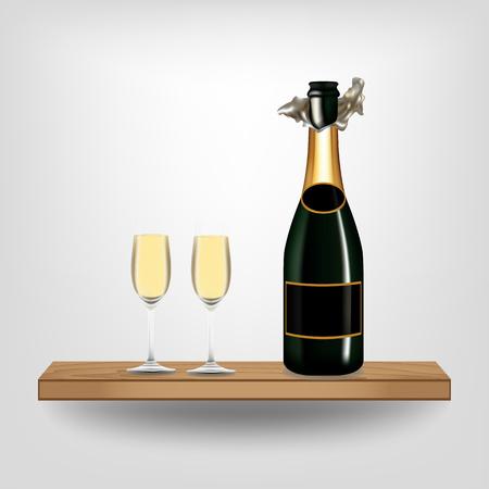 Bottle green wine and glass on wood shelf on white background, Vector illustration