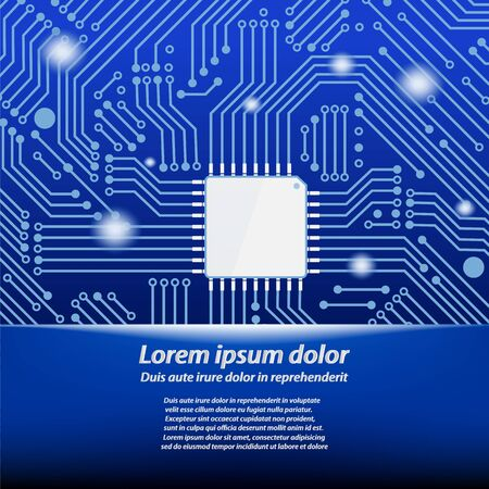 microcircuit: CPU (central processing unit) - Computer chip or microchip with circuit board background, Vector  illustration Illustration