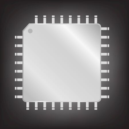 the unit: Silver CPU (central processing unit) - Computer chip or microchip,Vector  illustration